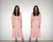 vintage MODA INTL cotton waffle weave long sleeve maxi dress