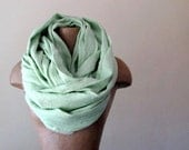 Mint Green Linen Scarf - Extra Long Linen Shawl, Wrap - Pale Minty Green Oversized Chunky Scarf