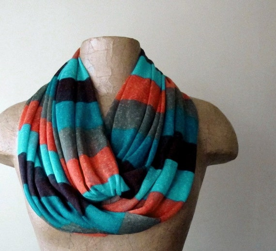 Color Block Infinity Scarf - Striped Colorblock Loop Scarf - Lightweight Circle Scarf - Aqua Blue, Teal, Apricot, Mauve, Olive
