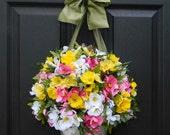 Spring Summer Wreath - Alternative - Multi Wreath - Door Wreath - Flower Pail - Flower Basket