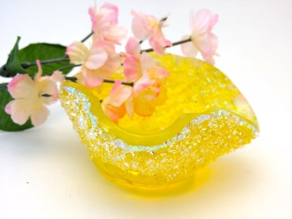 Candle Holder Fused Yellow Glass Tea Light with Pale Aqua Dichroic Glass  Interior 212