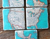 Vintage Atlas Map Coasters - North America Set of 5