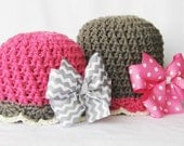 CROCHET PATTERN Bow-tastic Beanie with BONUS hairbow tutorial (5 sizes included) Instant Download