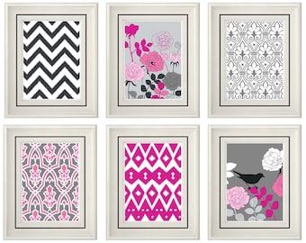 Set of Six Modern/Vintage Pink/Gray Wall Art - Print Set - Home Decor- Gift (Unframed)