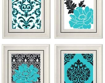 Set of Four Modern Vintage Turquoise/Gray Wall Art - Print Set - Home Decor - 8x11 Prints (Unframed)