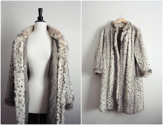 60s MOD Madmen Glam Cheetah Leopard Faux Fur Jacket Winter Coat. Size M/L