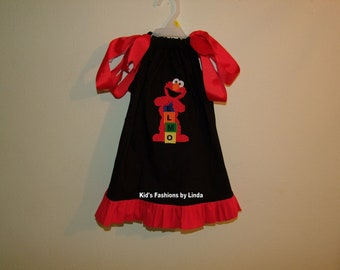 Black Pillowcase Dress with Red Ruffle and Elmo Applique
