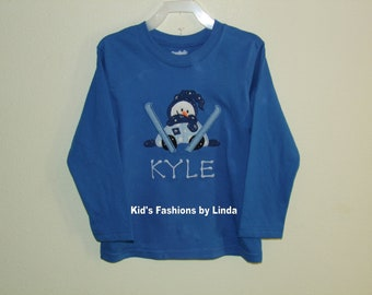 Personalized Blue Snowman Long Sleeve  Tshirt