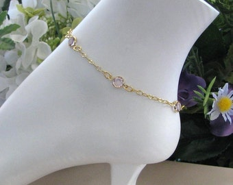 June Birthstone Gold Anklet, Mothers Birthstone Ankle Bracelet, Birthstone Anklet, Gold Chain Anklet, Birthstone Jewelry, Light Amethyst