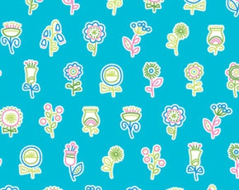 36011 Erin McMorris Summersault - Flowerpop in Turquoisecolor- 1 yard