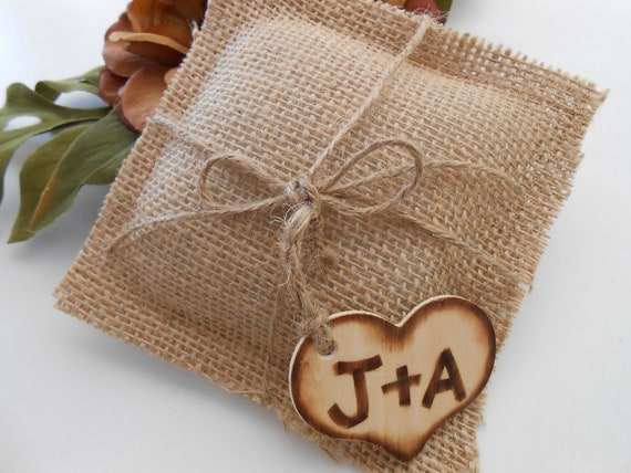 Wedding Ring Pillow / Rustic / Burned heart initial Charm