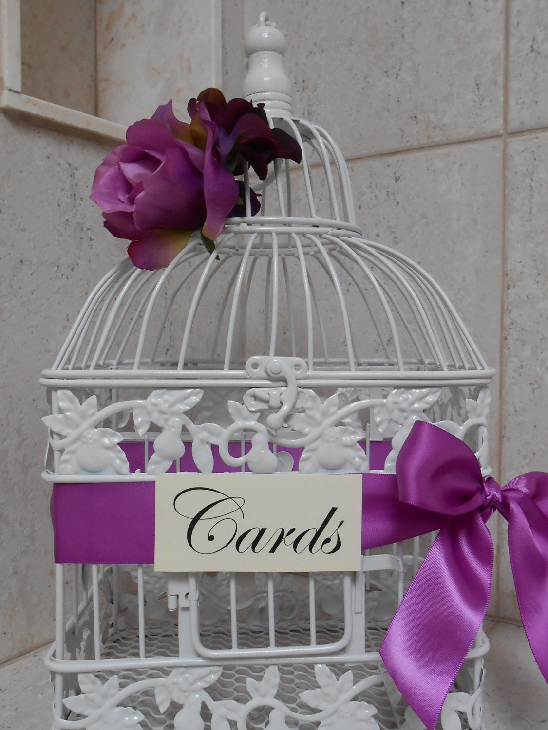 White Birdcage Wedding Card Holder / Bird Cage Gift by TheLaceMoon