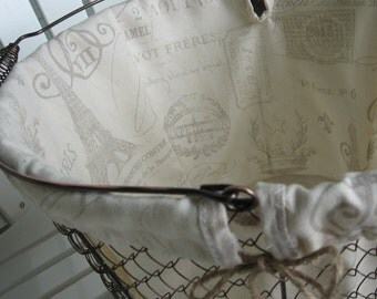 French Document Liner, Farmhouse Wire Basket, Storage Bins, Organize, Bathroom Decor, Shower Gift Baskets, School, Cottage, Rustic, Baskets