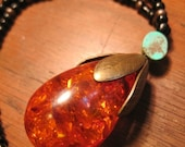 Brass and Amber Resin Tear Drop Pendant Necklace