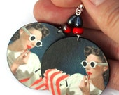 SALE Pin up girl Earrings Retro funky Round decoupage jewelry White Red stripes (11) - MADEbyMADA