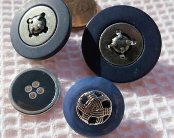 "4 vintage buttons, under 1"", 1 pr snap togethers, 1 odd snap together, 1 all metal 4 hole.  GB(N)12.8-29.8."