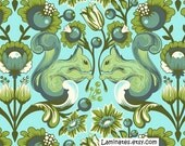 20 X 20 LAMINATED fabric - Squirrel pool Tula Pink Birds and Bees BPA Free (aka oilcloth, coated vinyl fabric)
