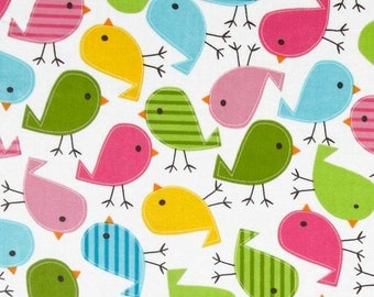 1/2 yard LAMINATED cotton fabric (similar to oilcloth) 18 x 40 - Pastel birds Urban - BPA free - remix - Approved for children's products