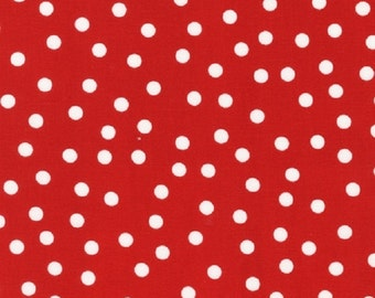 LAMINATED cotton fabric by the yard - Remix red scattered dot yardage (aka oilcloth by the yard) WIDE BPA free - urban