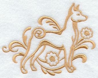 Elegant Damask Basenji Embossed Style Embroidered Flour Sack Hand/Dish Towel