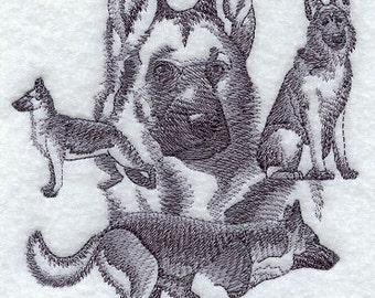 German Shepherd Sketch  Style Embroidered Flour Sack Hand/Dish Towel