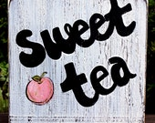"""Wooden Signs, Southern Wood Signs, Hand Painted, Shabby Chic, Wood Art, Distressed Wood Sign: """"Sweet Tea"""""""
