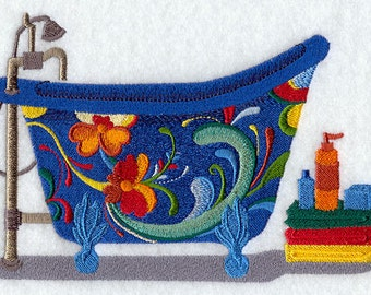 Rosemaling Mejolica Mexican Bath Tub Embroidered Flour Sack Hand/Dish Towel