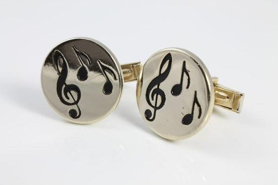 Vintage Clef note musical Cufflinks gold tone
