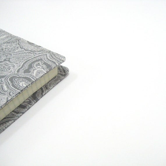 Covers for Moleskine 2013 planners or journals, silver grey white paisley, second 2nd wedding anniversary gifts cotton