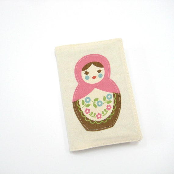 2013 Diary or A6 notebook, Matryoshka doll pink brown natural, travel journal, notepad or list taker
