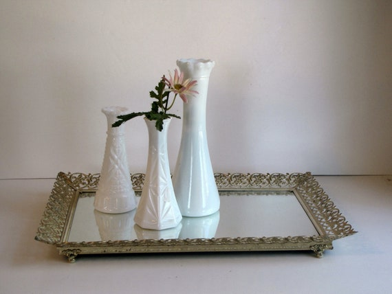 Vintage Gold Filigree Mirrored Vanity Tray or Wall Mirror