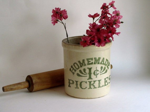 Vintage Stoneware Half Gallon Crock - Homemade 1 Cent Pickles