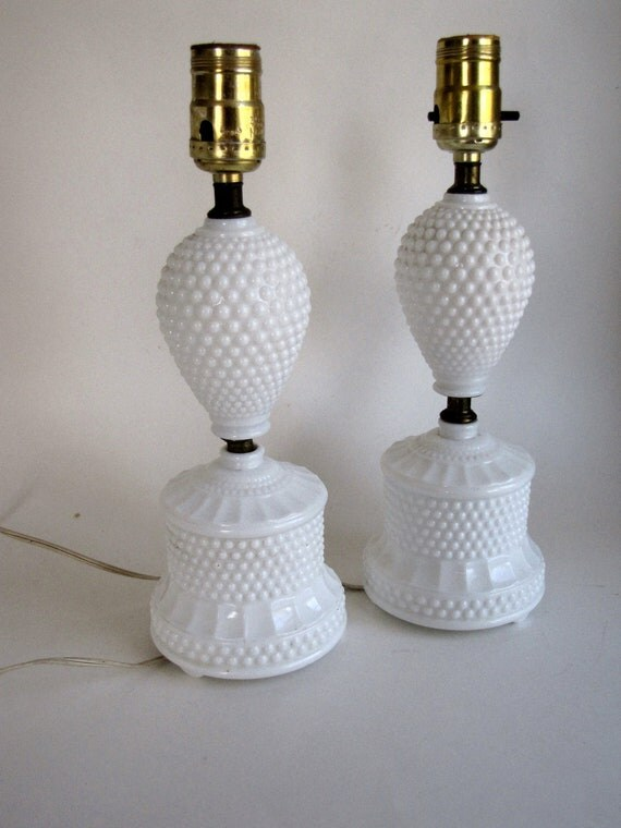Vintage White Milk Glass Hobnail Lamps - set of two