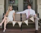 Save the Date... Custom Burlap Bunting.  Engagement Prop.  Wedding Decor.  Photo Prop.