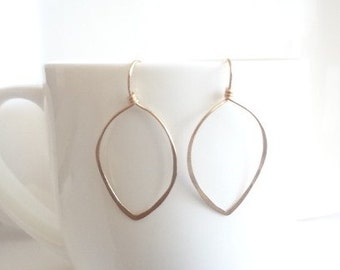 Gold Leaf Earrings, Gold Filled, Minimalist, Weddings, Bridesmaids, Bridal, For Her, Jewellery, Handmade Jewelry