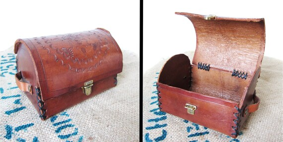 Handmade Tooled Leather Chest 60s Argentina Jewelry Box - 5 x 3.5 x 3.5