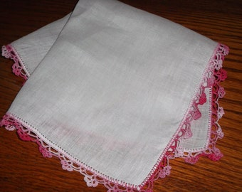 Irish Linen Hanky with Crocheted Edging