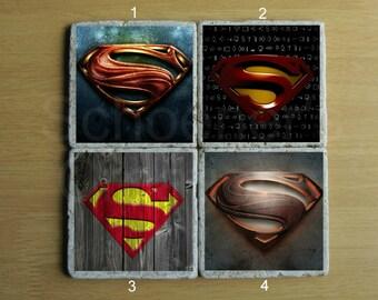 Superman Stone Coaster - Set of 4