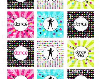 Dance Party Birthday Digital  Cupcake Toppers   2 Inch Circle Tags Instant Download