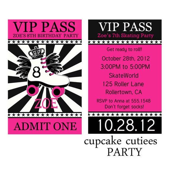 Decorative Wedding Invitation Badge 7: VIP Skating Pink Black Badge Custom Invites Digital Printable