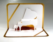 GRAND PIANO 3D Pop Up CARD Origamic Architecture Home Decoration Handmade Handcut in White and Bright Shimmery Gold One Of A Kind