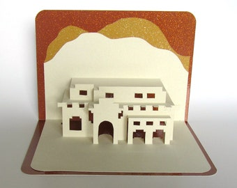 Santa Fe House Pop-Up 3D Card Home Décor Origamic Architecture Handmade in Ivory and Earth Tones of Shimmery Brown and Mustard Sand OOAK