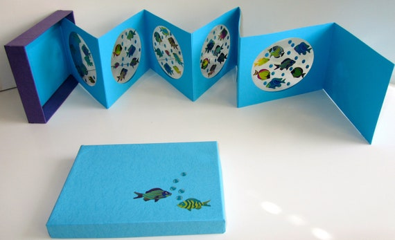 AQUARIUM Accordion Book Card Birthday Wishes in A BOX Original Design Handmade, Personalized For YOUR Special Occasions One Of A Kind