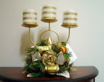 Gold Christmas Candle Centerpiece