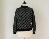 Vintage Sweater - 1980's Black Lamé Sweater - Size M