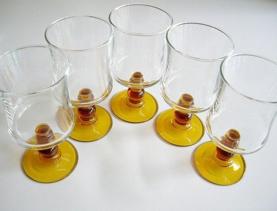 Vintage Wine Glass - Amber Stemmed - Made in France Set of 5