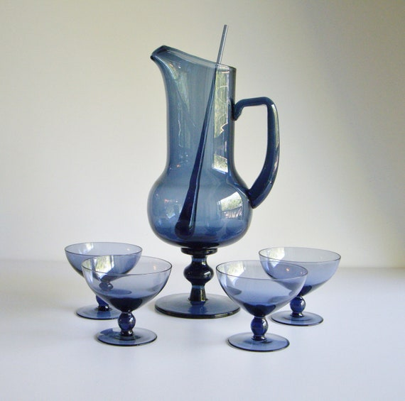vintage mid century barware cocktail set pitcher and cocktail