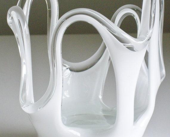 Jozefina Polish Art Glass Vase Krosno White Cased Glass