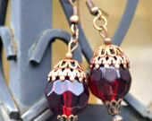 Victorian Earrings, Steampunk Earrings, Red Earrings, Art Nouveau Earrings, Hot Air Balloon Earrings, Copper Earrings