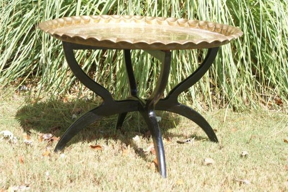 Eames Era Spider Table with Reticulated Etched Brass Tabletop. Folds Flat. Wooden Folding Brass Detail Legs Ebonized Wood Feat in ELLE DECOR